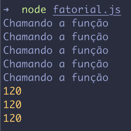 Calculando fatorial de forma memorizada