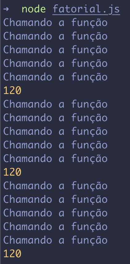 Chamando a função fatorial com log
