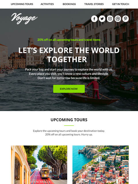 Travel multipurpose email templates for promotions
