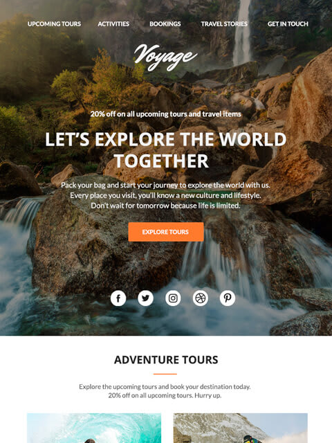 Travel agency email templates for MailChimp and Campaign Monitor