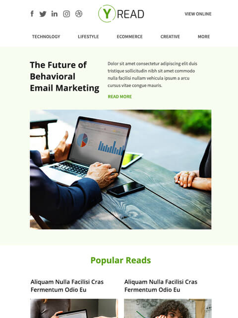 Multipurpose blogging email marketing templates