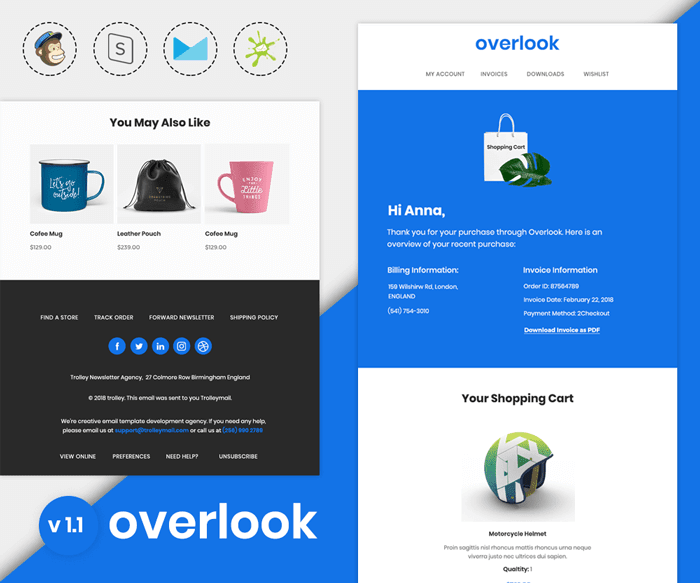 Overlook v1.1 - Responsive purchase confirmation email template