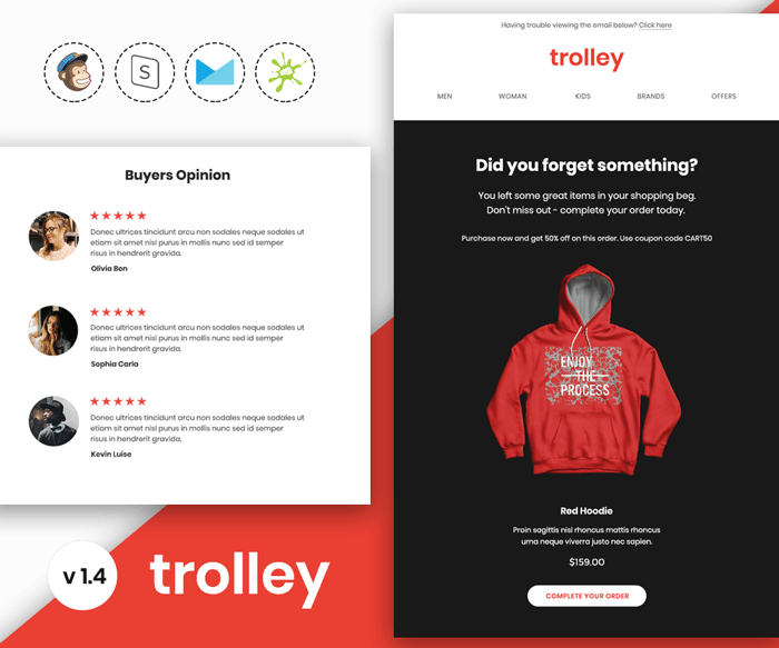 Trolley - Responsive Abandoned Cart Email Template Preview