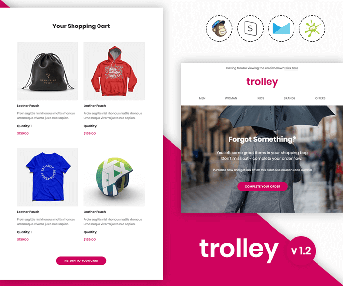 Trolley - Responsive abandoned cart email template