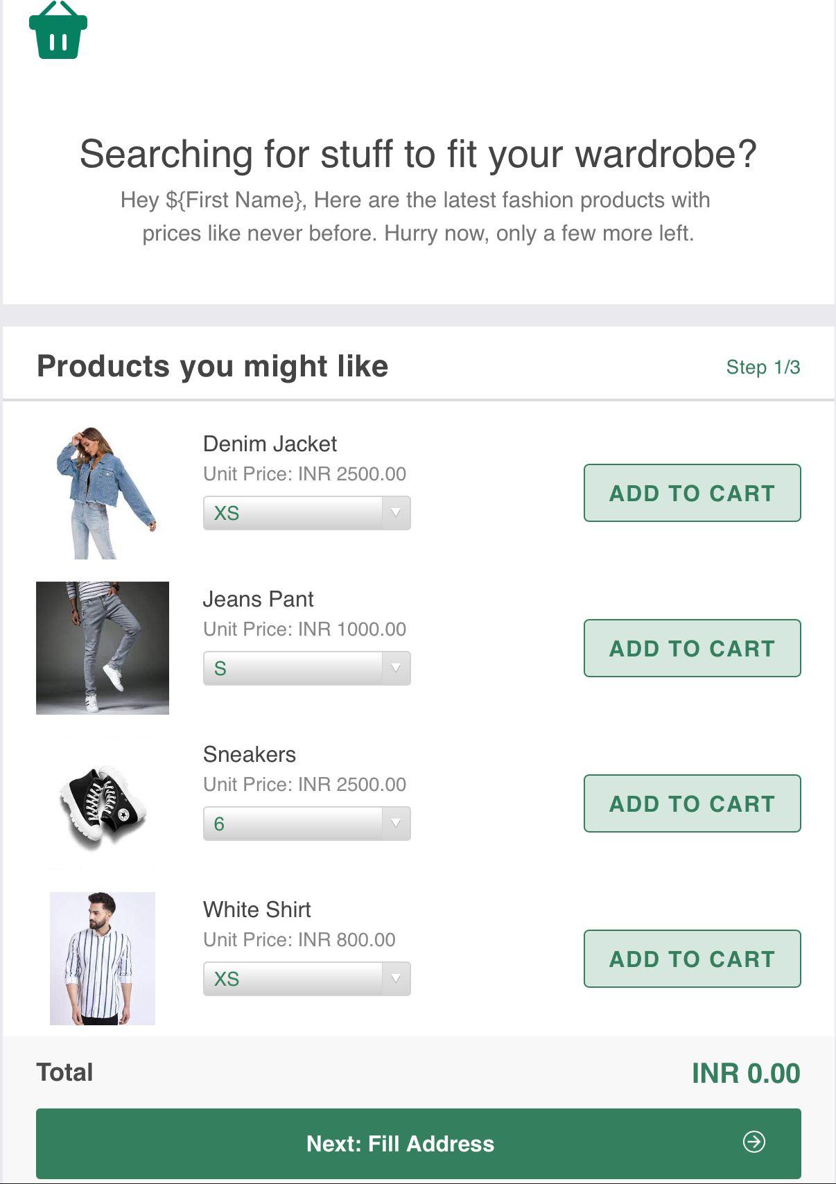 AMP email for e-commerce