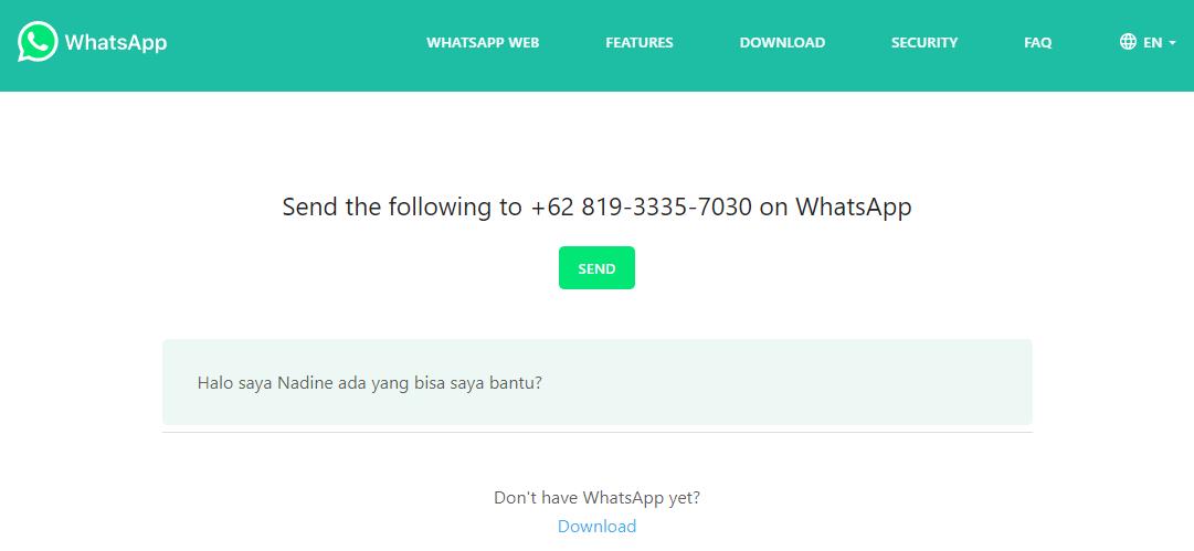 cara menambahkan pesan pada link whatsapp