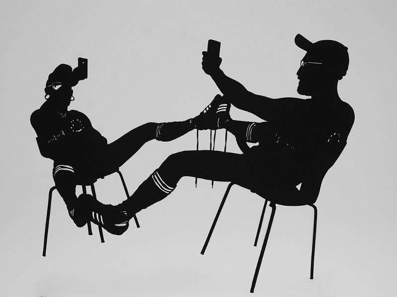 Stefan Thiel — 100 BERLIN BASED MEN Kurt vor dem Spiegel, 2014, 70 x 100 cm, paper cut-out (image courtesy of Schwules Museum)