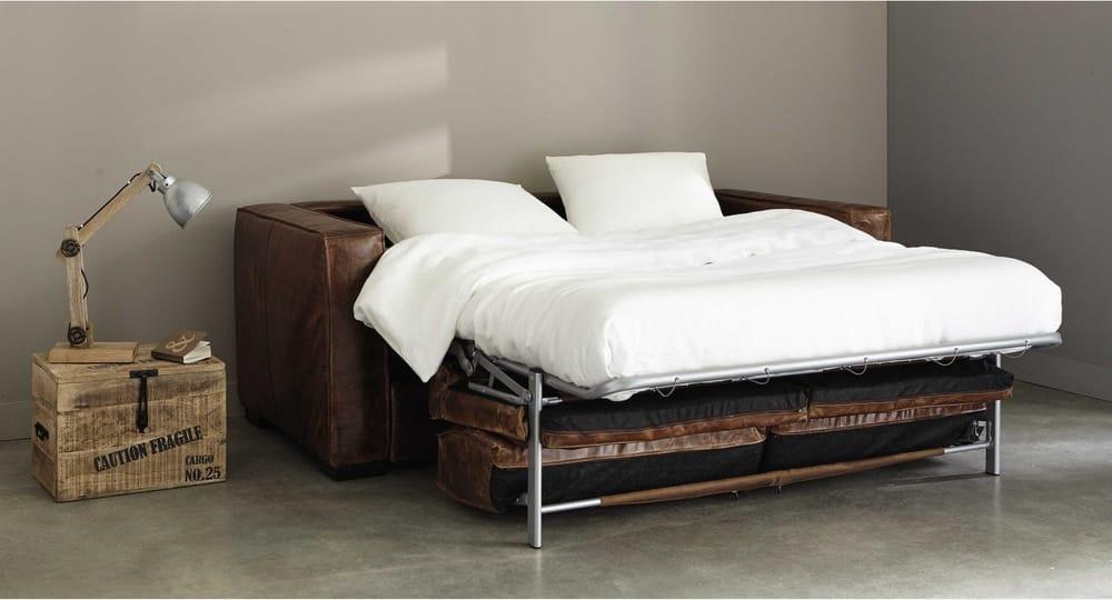 ausziehbares 3 sitzer sofa aus leder braun antik berlin maisons du monde. Black Bedroom Furniture Sets. Home Design Ideas