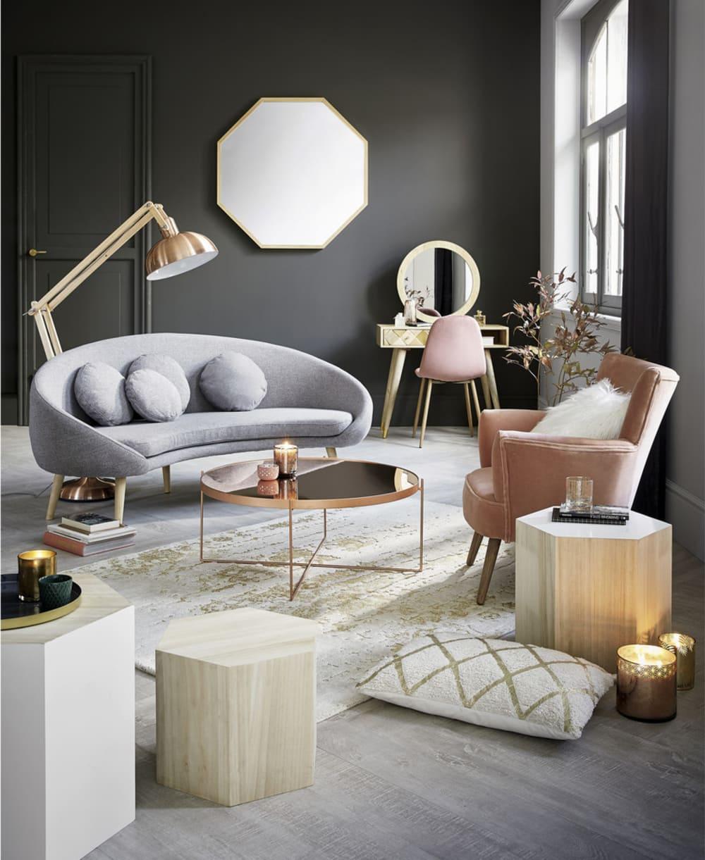 table basse ronde avec miroir en m tal cuivr com te maisons du monde. Black Bedroom Furniture Sets. Home Design Ideas