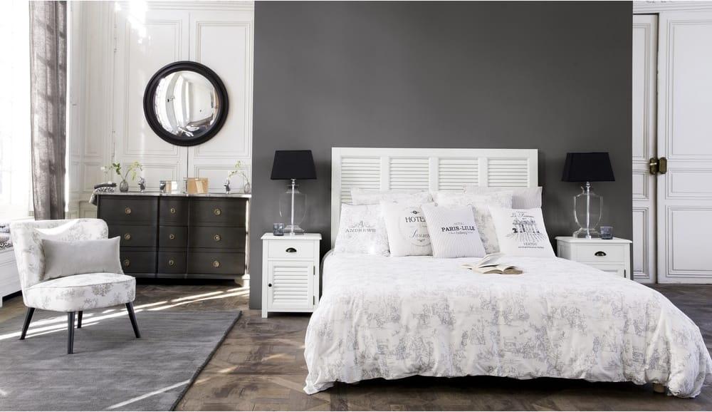 Tête de lit en bois blanche l 140 cm barbade maisons du monde