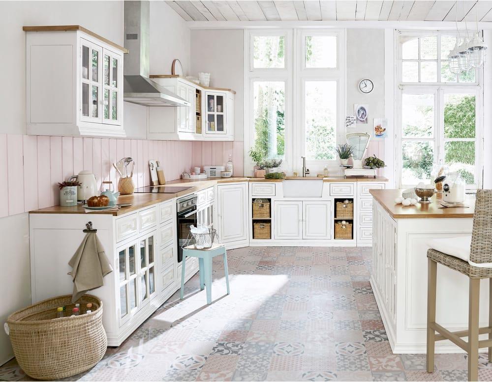 Meuble bas de cuisine en manguier ivoire eleonore maisons du monde - Cuisines maison du monde ...