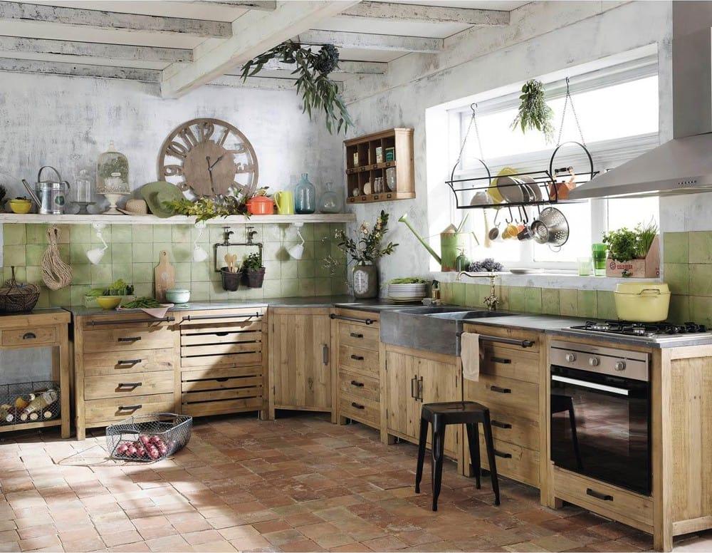 Mobile basso da cucina in pino riciclato con lavello 90 cm Pagnol  Maisons du Monde