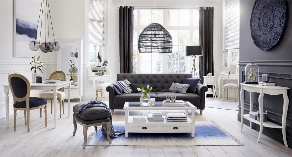 Table basse tiroirs blanche joséphine maisons du monde