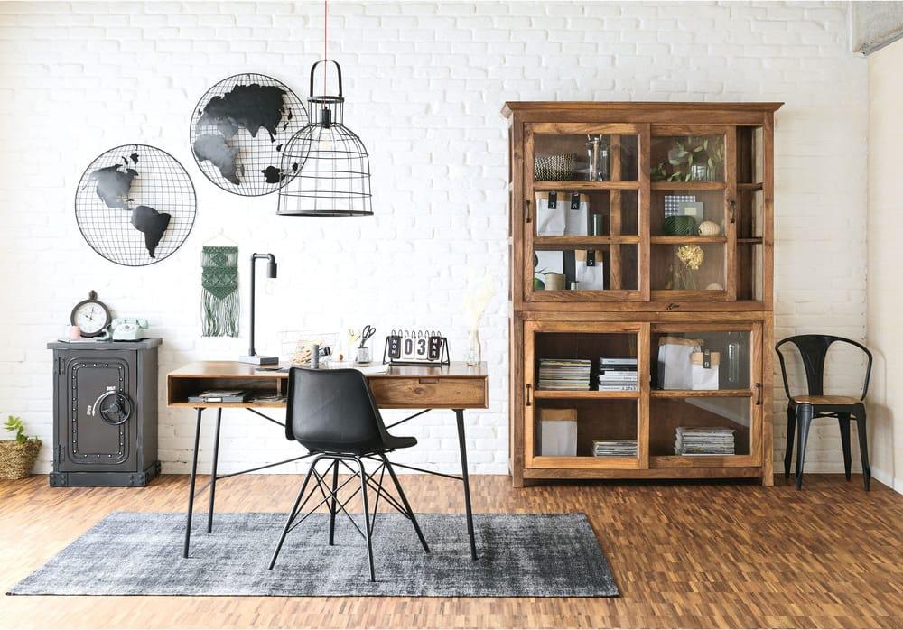 Bureau tiroir en manguier massif et métal noir arty maisons du