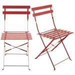 2 chaises pliantes de jardin en métal rouge framboise