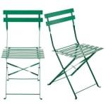 2 chaises pliantes de jardin en métal vert