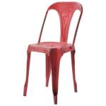 Chaise indus en métal rouge