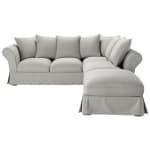 Sofá esquinero de 6 plazas de algodón gris