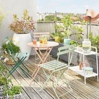 2 chaises pliantes de jardin en métal vert Guinguette