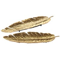2 gold metal feather trinket bowls Florilege