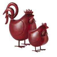 2 poules en métal rouge H 38 cm Raoul
