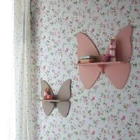 2 wandplankjes in de vorm van vlinders H 31 en H 45 cm Butterfly