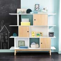 3-Door White Bookcase Happy