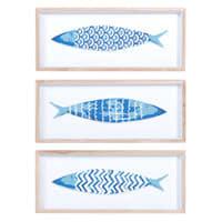 3 tableaux poissons en bois bleu 14 x 33 cm Azzura
