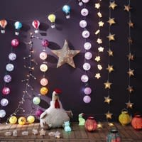 4 lampions lumineux en papier multicolores H 15 cm Folk
