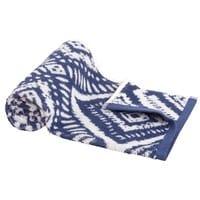 Asciugamano in cotone blu a motivi grafici, 50x100