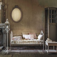 Banquette 2 places en coton et métal ivoire Capucine