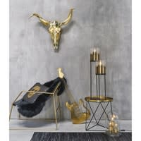 Beistelltisch aus Metall, Platte goldfarben, Fuß schwarz Amy