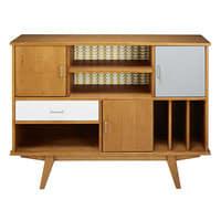 Bibliothèque vintage 3 portes 1 tiroir en pin tricolore Paulette