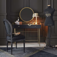 Black Solid Acacia and Gold Metal 1-Dressing Table Jagger