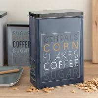 Boîte à céréales en métal bleu imprimé