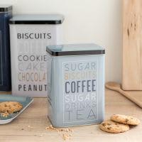 Boîte à sucre en métal bleu imprimé