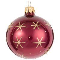Boule de Noël rose framboise motifs cristaux dorés