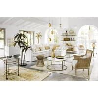 Bout de canapé 2 plateaux en marbre blanc Bonnie
