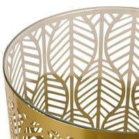 Bout de canapé en métal doré et verre