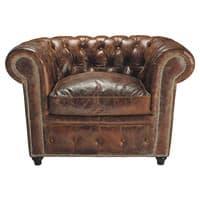 Bruinleren gestoffeerde Chesterfield fauteuil Chesterfield