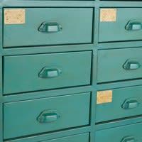 Cabinet indus 24 tiroirs en métal vert Nino