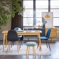 Chaise style scandinave en velours bleu Clyde