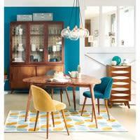 Chaise vintage en velours bleu canard et bouleau massif Mauricette