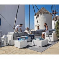 Chauffeuse bianca in resina intrecciata Mykonos