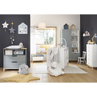 Commode 2 tiroirs gris bleu Gaspard