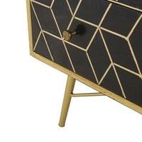 Commode 3 tiroirs en manguier massif noir et métal doré Jagger