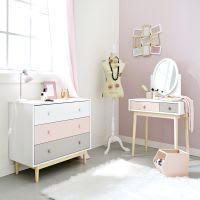 Commode vintage blanche, rose et grise Blush
