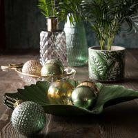 Coupe feuille de ginkgo en verre vert  Ginko
