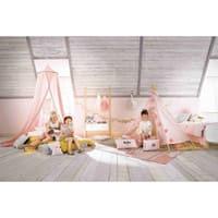 Cuscino rosa pallido in cotone stampato 50x30cm Alison