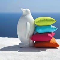 Deko-Pinguin  aus Kunstharz für den Garten, weiß, H88 Wellington